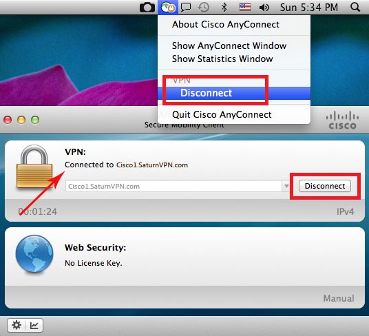 disconnect cisco anyconnect vpn on mac