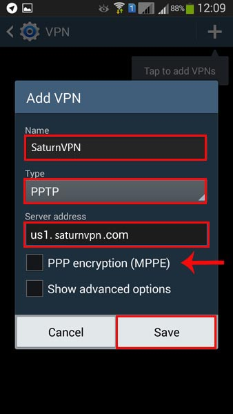 configure pptp vpn on android