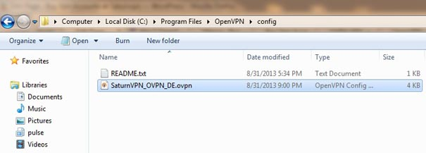 Download OpenVPN config file for windows xp