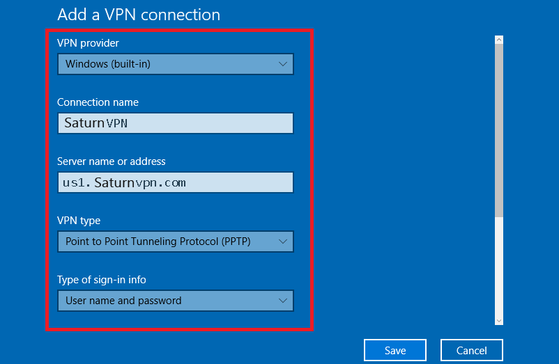 Setup PPTP VPN windows 10 - SaturnVPN