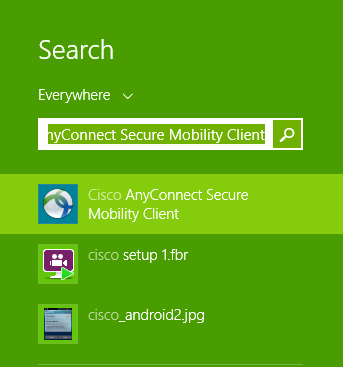 Connect to Cisco anyconnect VPN client windows 8