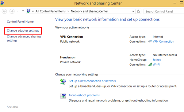 how to delete vpn connection windows 8